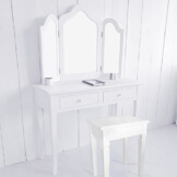 lounge-zone SET: weißer Schminktisch Frisiertisch MADRID 3 Spiegeln inkl. HOCKER 7560 -