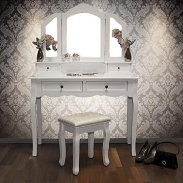 Schminktisch Fiona mit Hocker 4 Schubladen 3 Spiegel 100 x 40 x 146 cm -