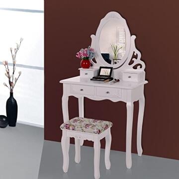 Songmics aushöhlen Schminktisch mit spiegel u. hocker, 4 schubladen inkl. 2 Stück Unterteiler, Kippsicherung, weiß RDT04W -