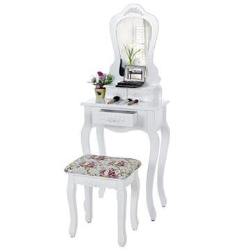 Songmics Barock Schminktisch mit Rose-Ornamenten inkl. 2 x Unterteiler, Kippsicherung, Hocker und Spiegel weiß RDT30W -
